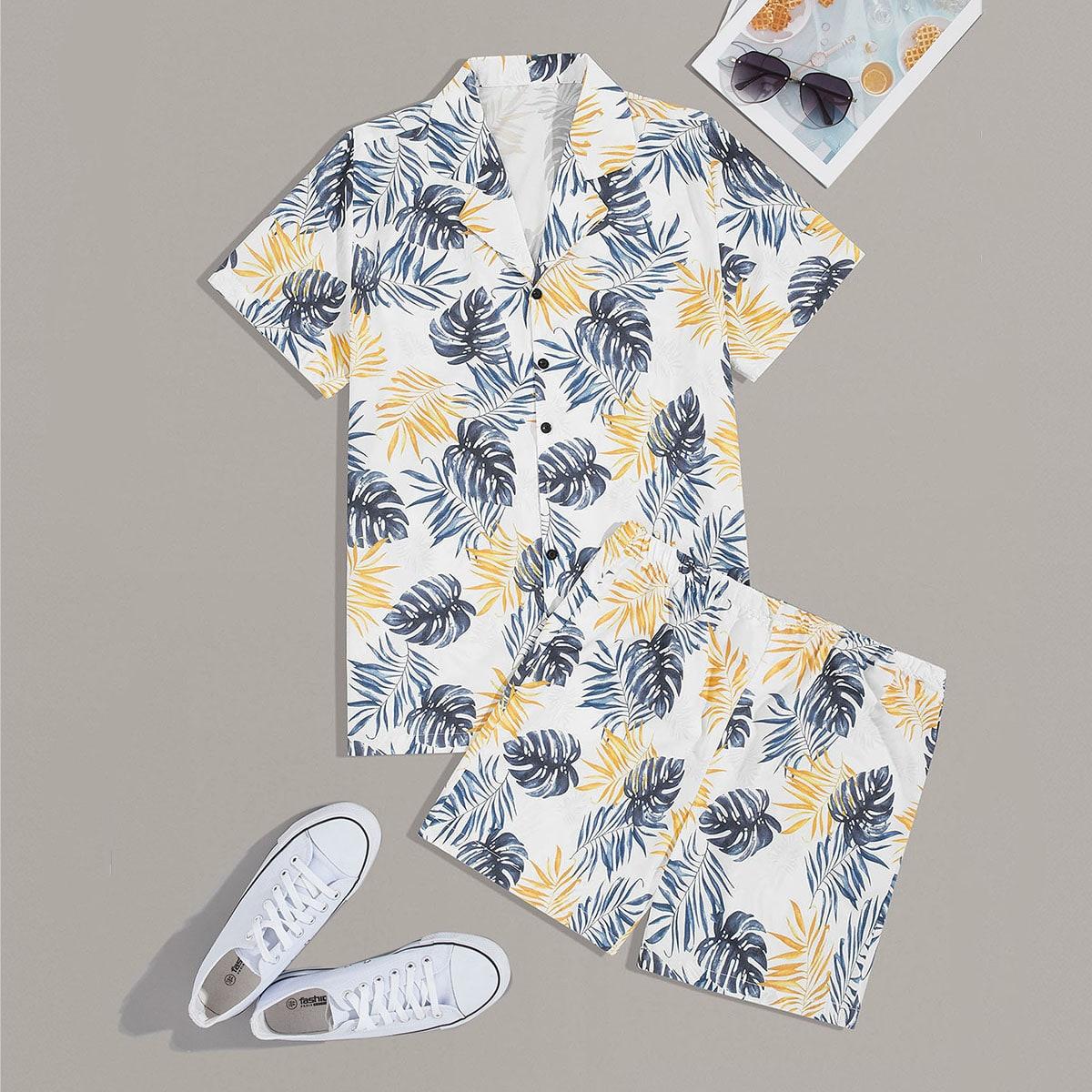 Мужские шорты и рубашка с тропическим принтом от SHEIN