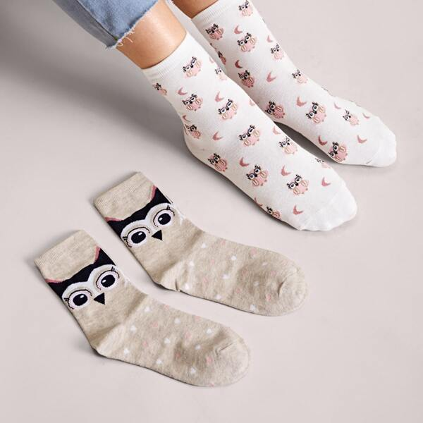 2pairs Owl & Heart Pattern Socks, Multicolor