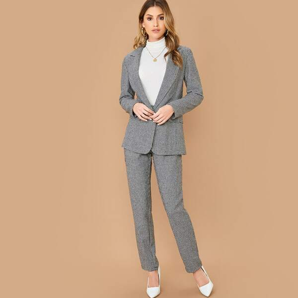 Notched Collar Houndstooth Blazer & Pants Set, Black and white