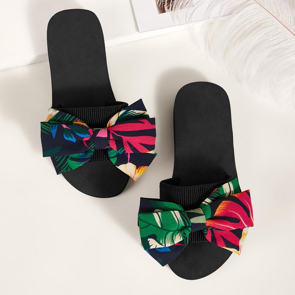 Тапочки с открытым носком и бантом от SHEIN