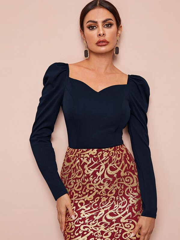 Sweetheart Neck Puff Sleeve Blouse, Navy, Andy