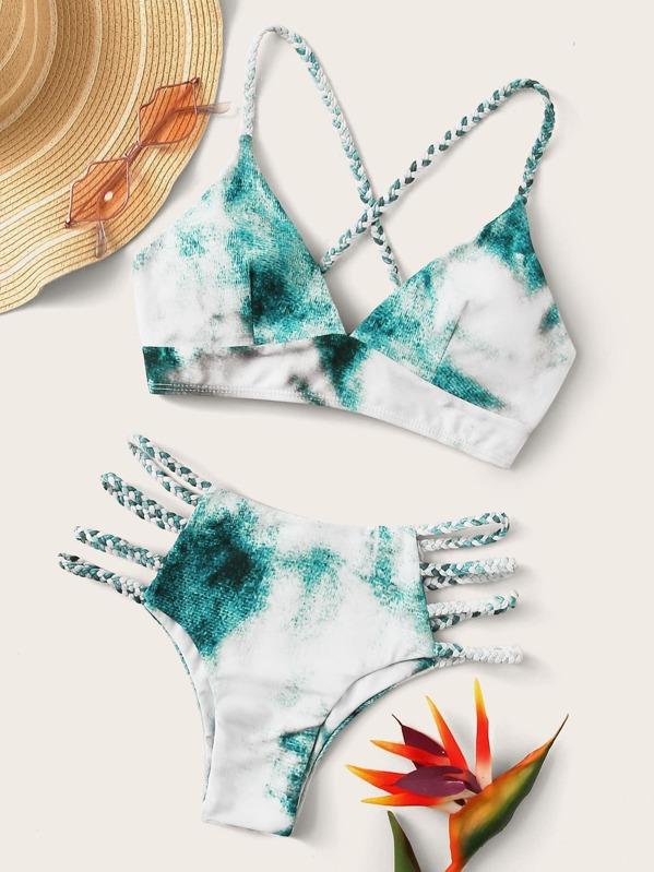 Tie Dye Lace-up Back Bikini Set, Multicolor