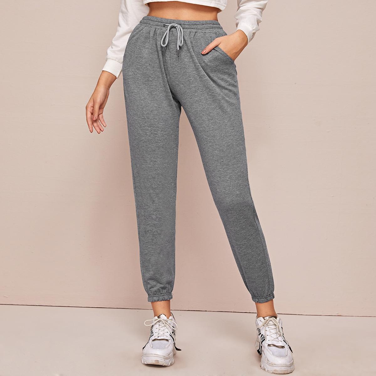 Однотонные спортивные брюки на кулиске от SHEIN