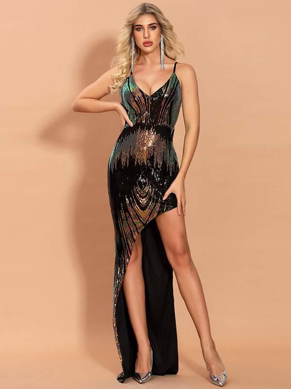 Missord Plunging Neck Asymmetrical Hem Sequin Prom Dress, Multicolor, SUSU