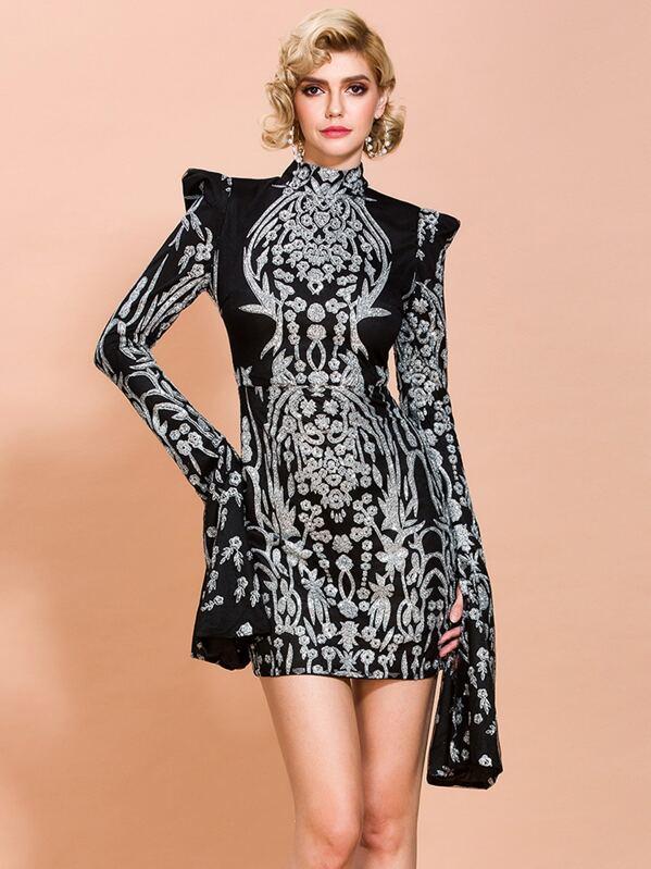 Missord Mock Neck Split Sleeve Damask Glitter Dress, Black, SASHA S