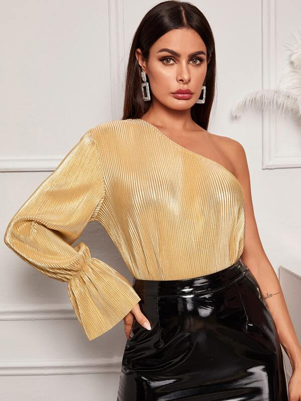 Metallic One Shoulder Flounce Sleeve Blouse, Gold, Andy