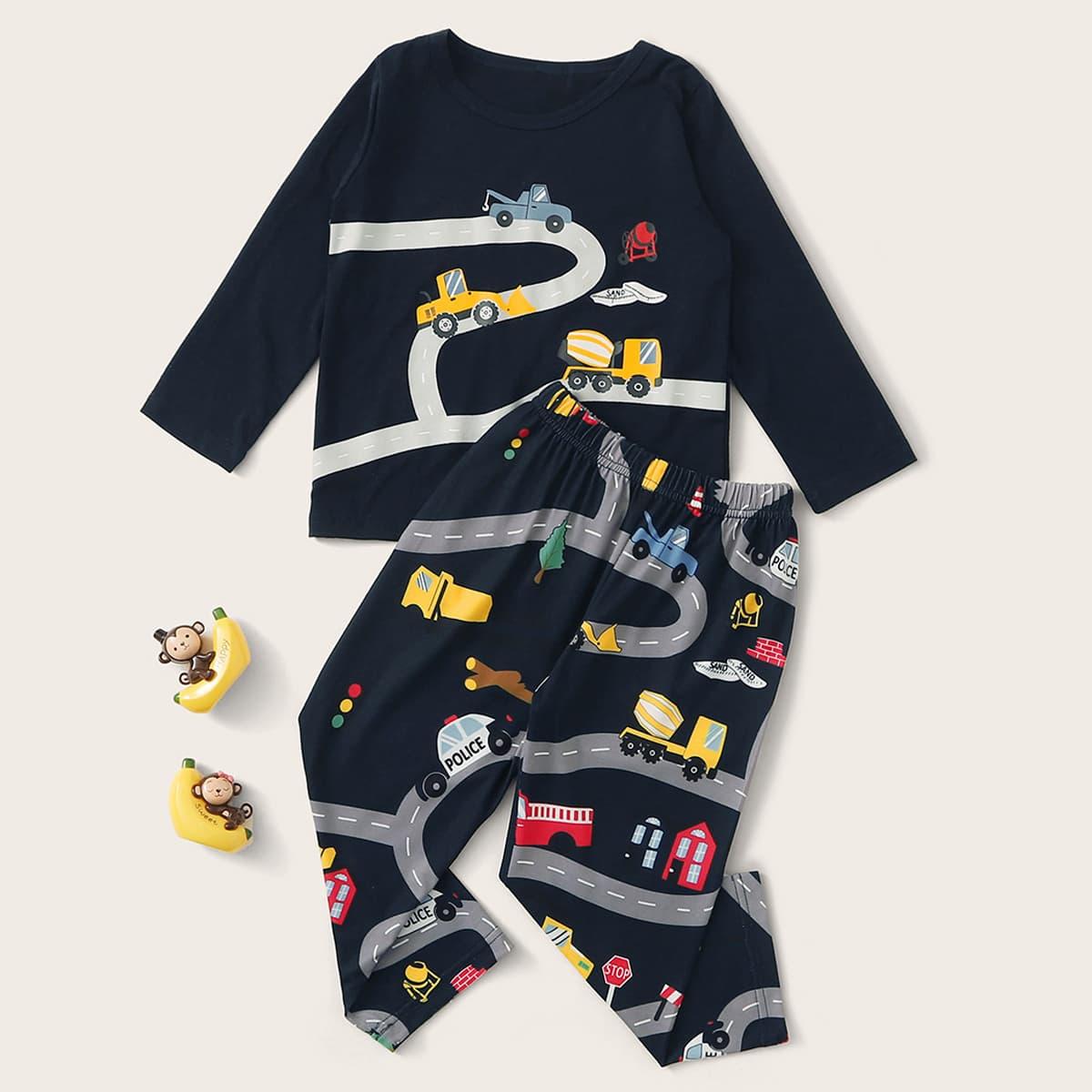 Пижама с мультяшным принтом для мальчиков фото
