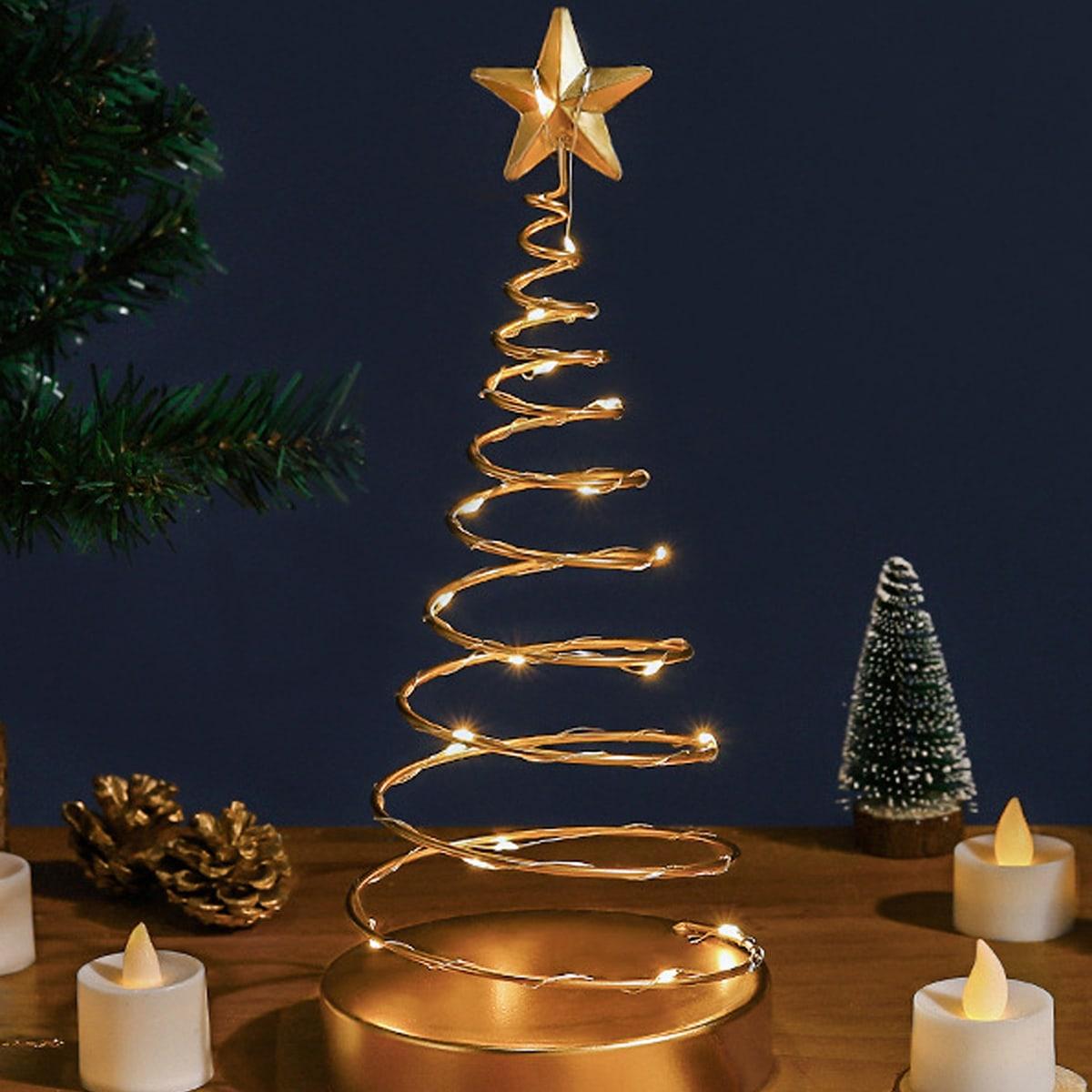1pc metalen spiraalvormige kerstboomlamp