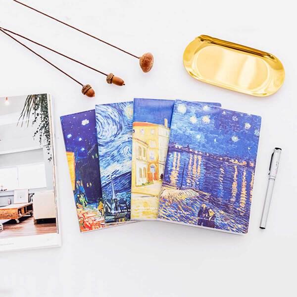 1pack Random Van Gogh Landscape Oil Painting Notebook