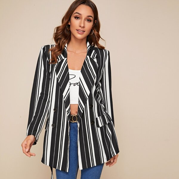 Notched Collar Double Breasted Striped Blazer, Black and white