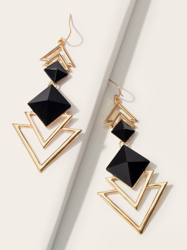 1pair Layered Gemstone & Triangle Drop Earrings, Multicolor
