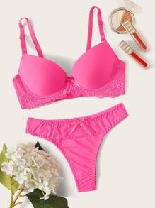 Neon   Pink   Lace   Set