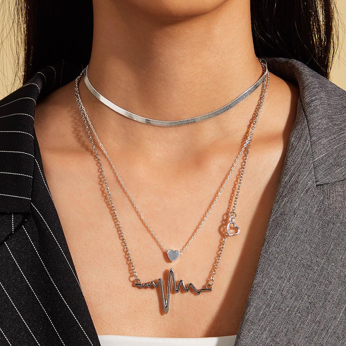 SHEIN / 3pcs Herz & Herzschlag Charm Halskette