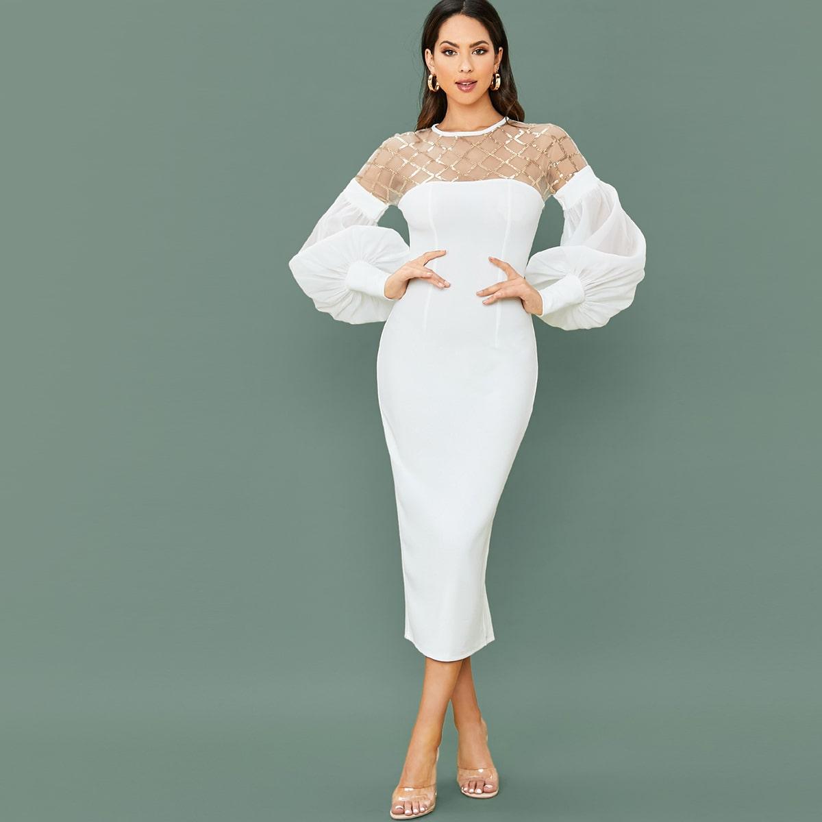 Платье с разрезом, сетчатой вставкой и блестками в клетку Image