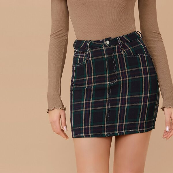 Checkered Plaid Mini Pencil Skirt With Pockets, Multicolor