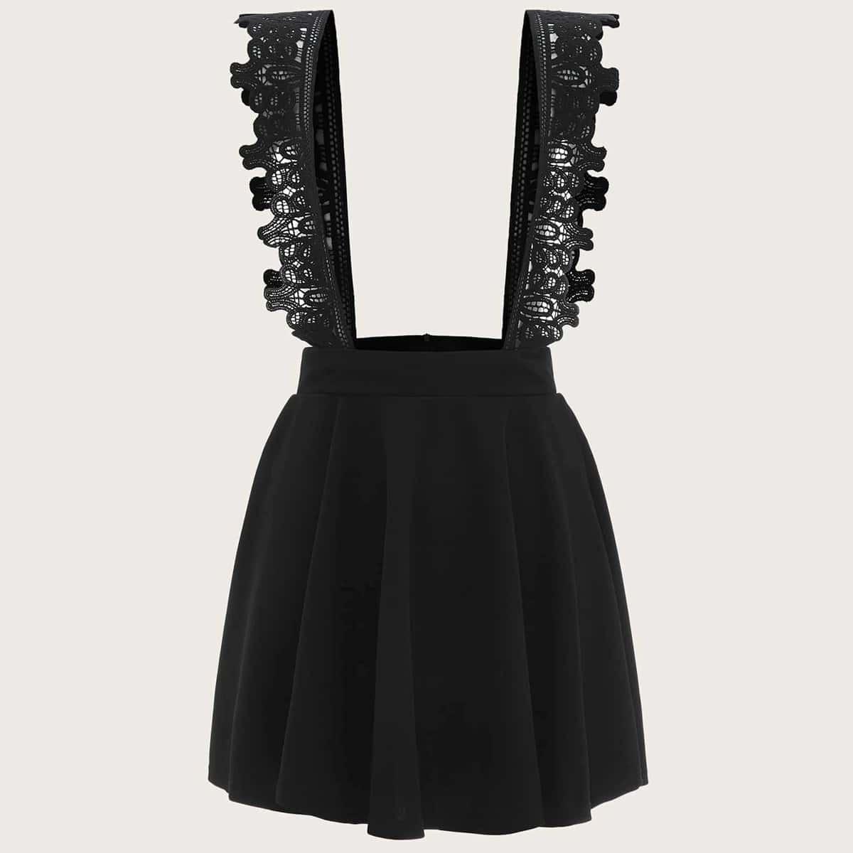 Контрастная кружевная юбка размера плюс с подтяжками от SHEIN