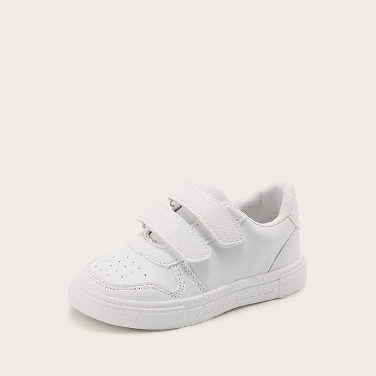 Перфорированные кроссовки для девочек с двойным ремешком на липучке от SHEIN
