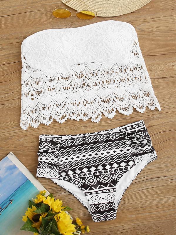 Floral Lace Bandeau With Geo Random Print High Waist Bikini, Black and white