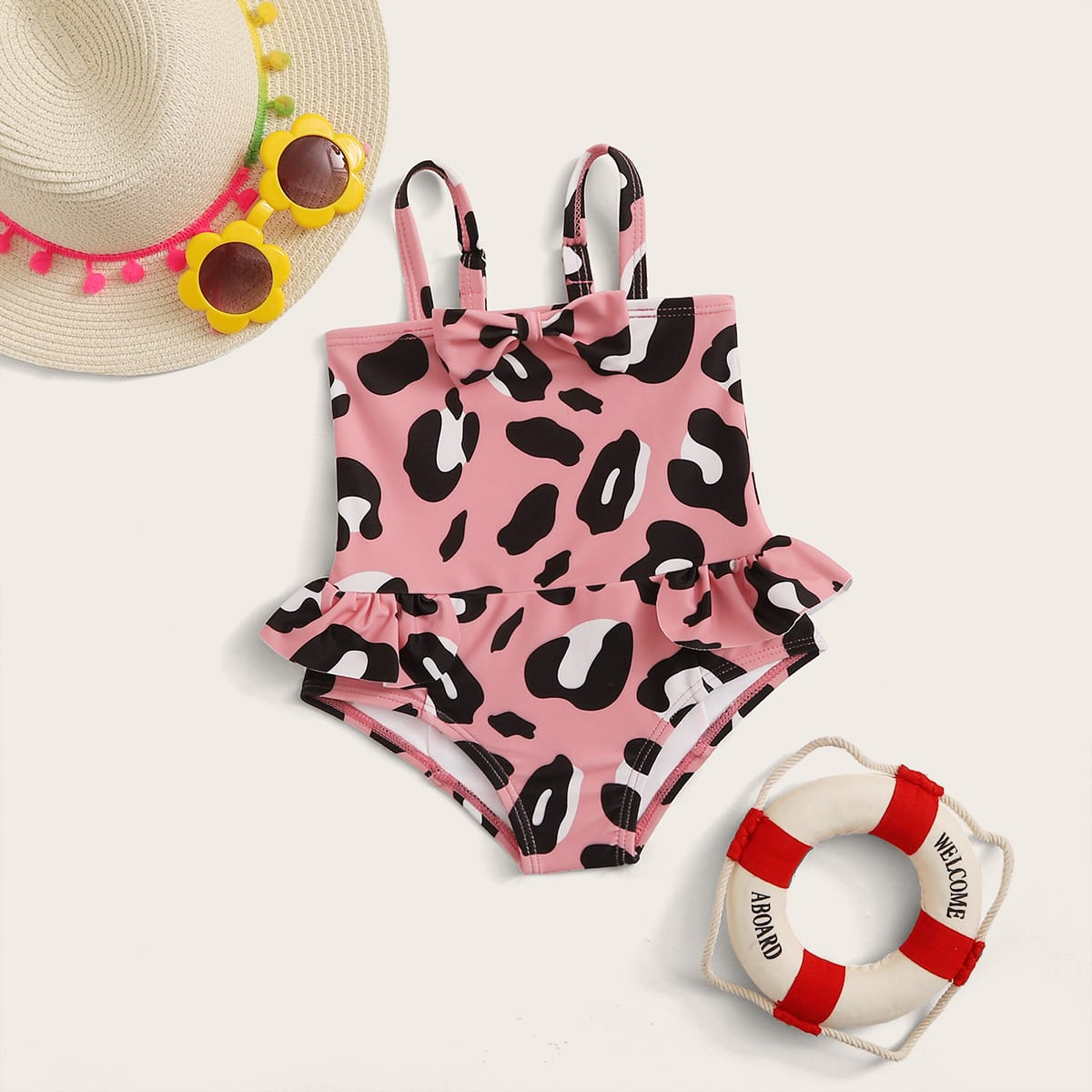 Badpak met luipaardprint voor babymeisjes