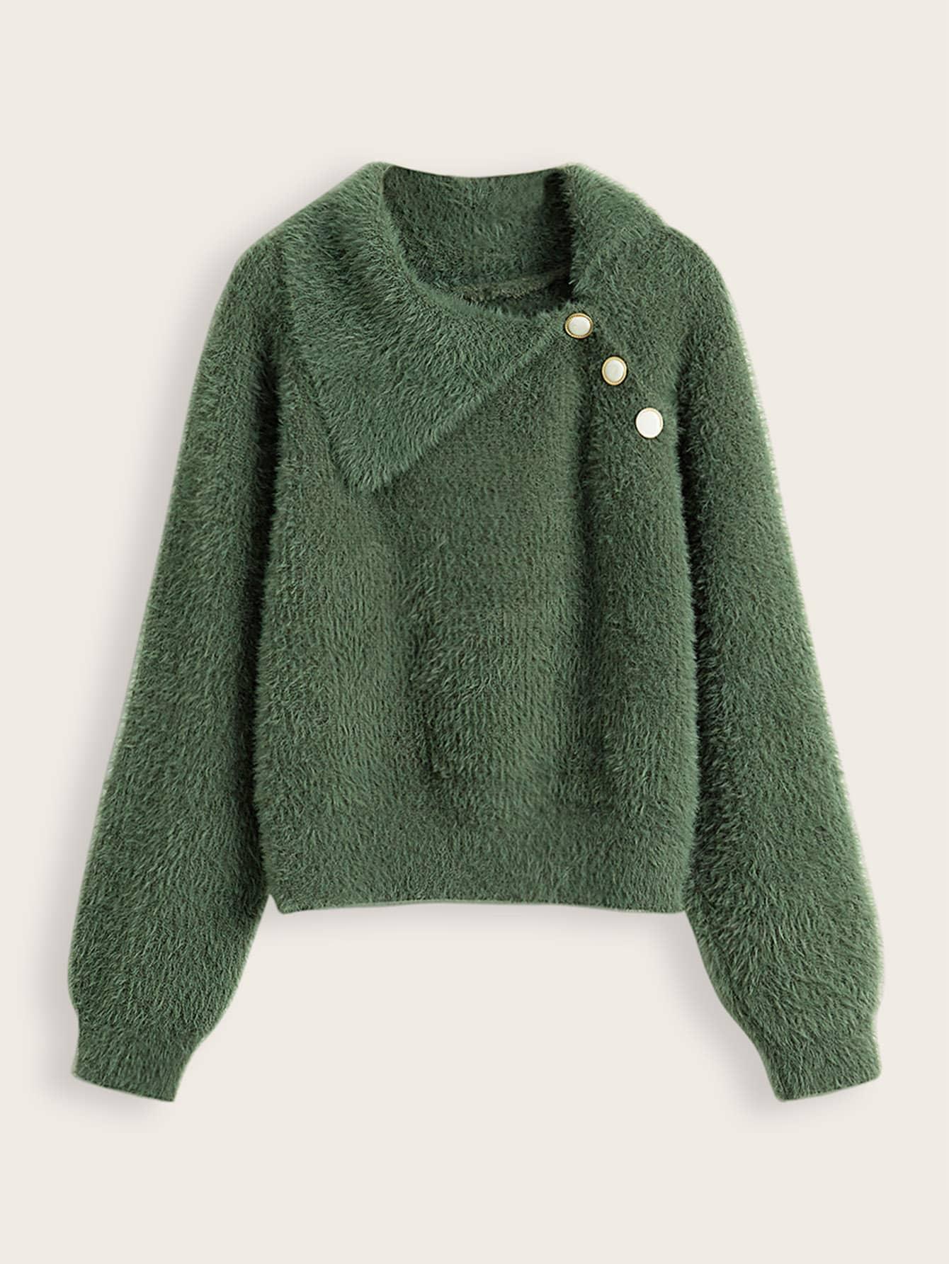 Oblicuo Botón De Mohair Aproximada Suéter