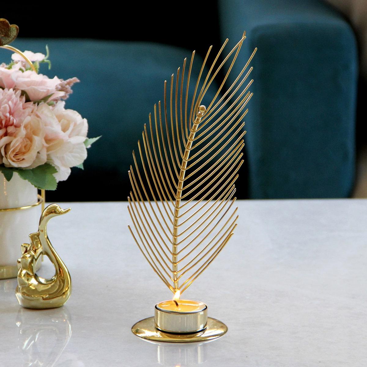 Palmbladvormige kaarsenhouder