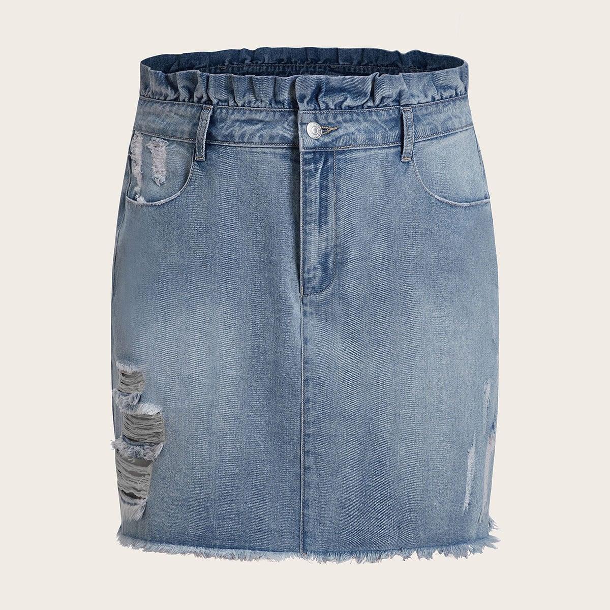 Blauw Elegant Vlak Grote maten: jeansrokken Rits
