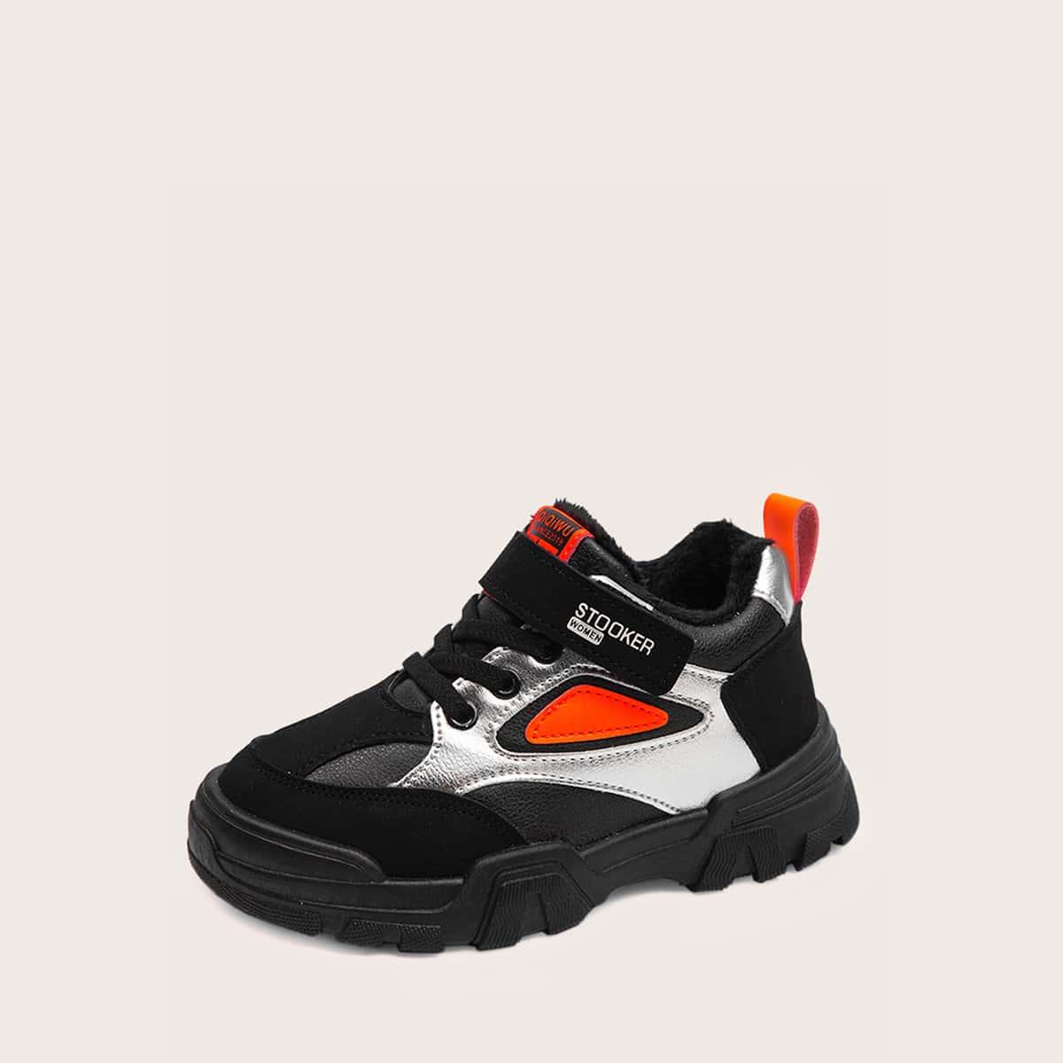 Zwart Comfortabel Kleurblok Kinder sneaker