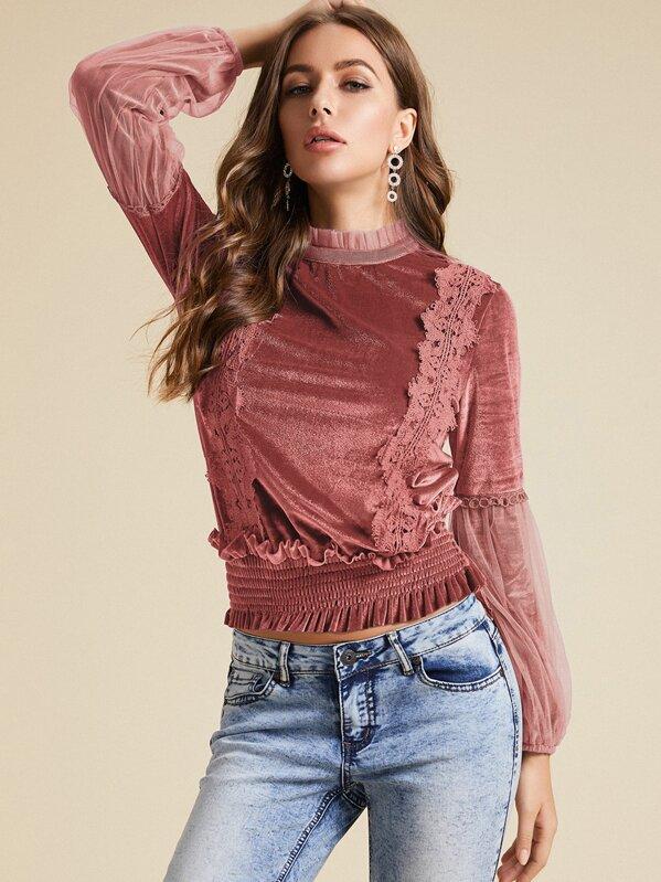 SBetro Frill Trim Shirred Waist Lace Detail Velvet Blouse, Pink, Hanna