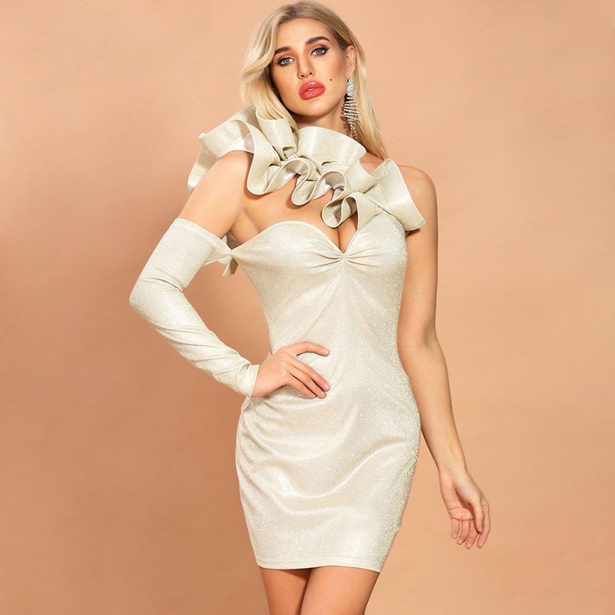 Missord блестящее облегающее платье на одно плечо с оборками фото