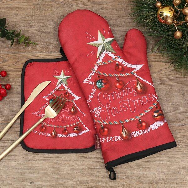 2pcs Christmas Pattern Oven Mitt & Potholder, Multicolor