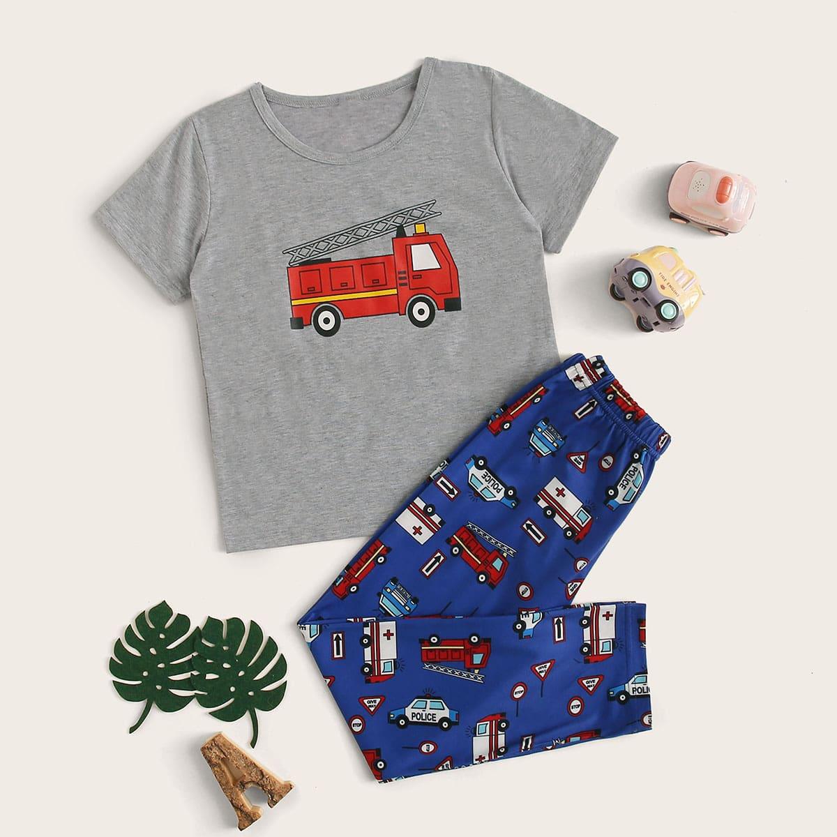 Пижама с принтом мультяшного кота для мальчиков от SHEIN