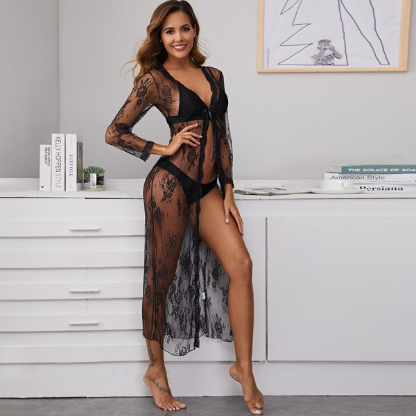 Floral Embroidery Mesh Long Sleeve Robe With Thong, Black