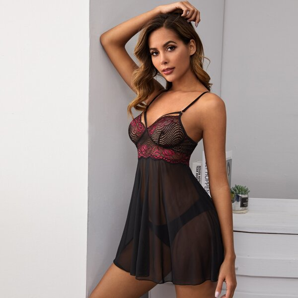 Contrast Lace Sheer Mesh Slips With Thong, Black