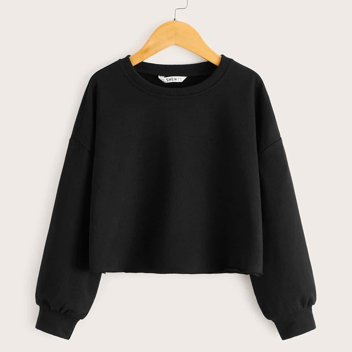 Однотонный пуловер для девочек от SHEIN