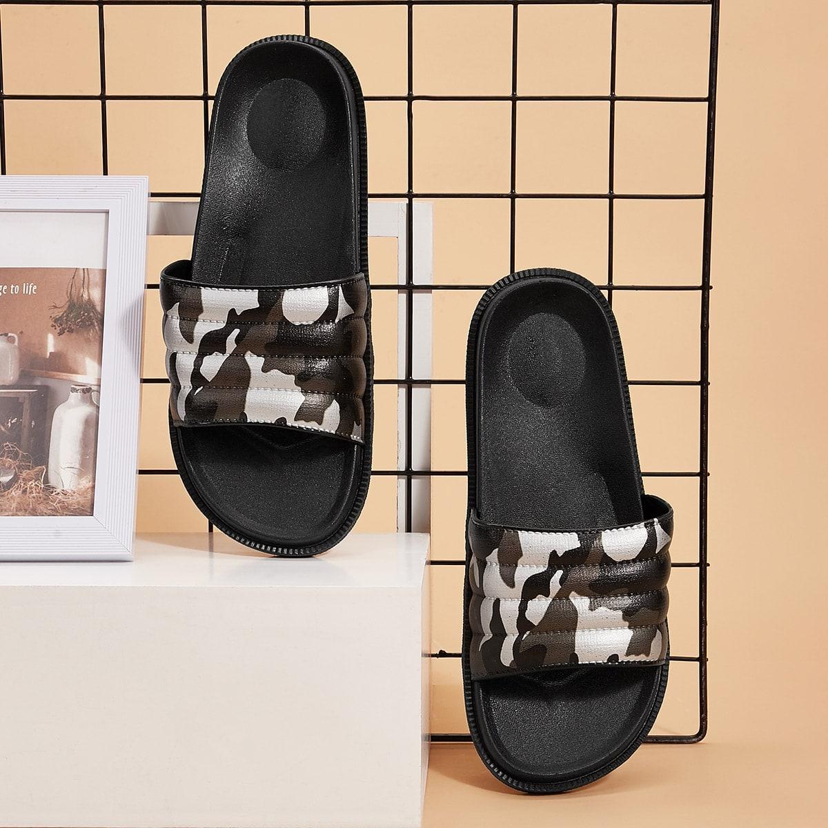 SHEIN / Men Camouflage Open Toe Sliders