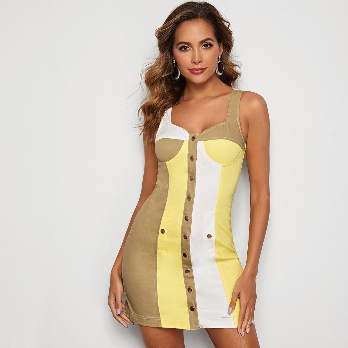 SHEIN / Jeans Kleid mit Knöpfen vorn und Farbblock