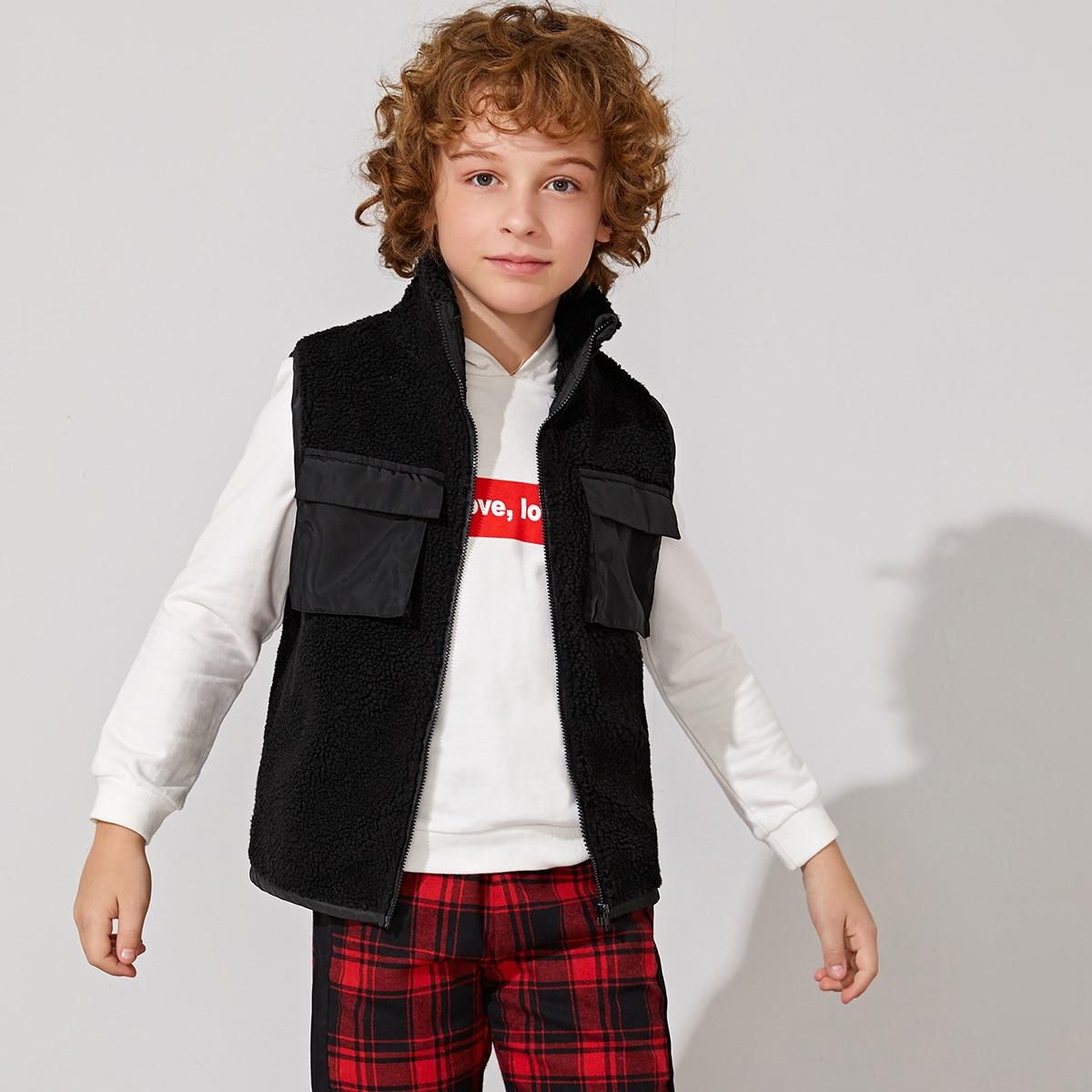 Шерстяная куртка-жилет с молнией и карманом для мальчиков от SHEIN