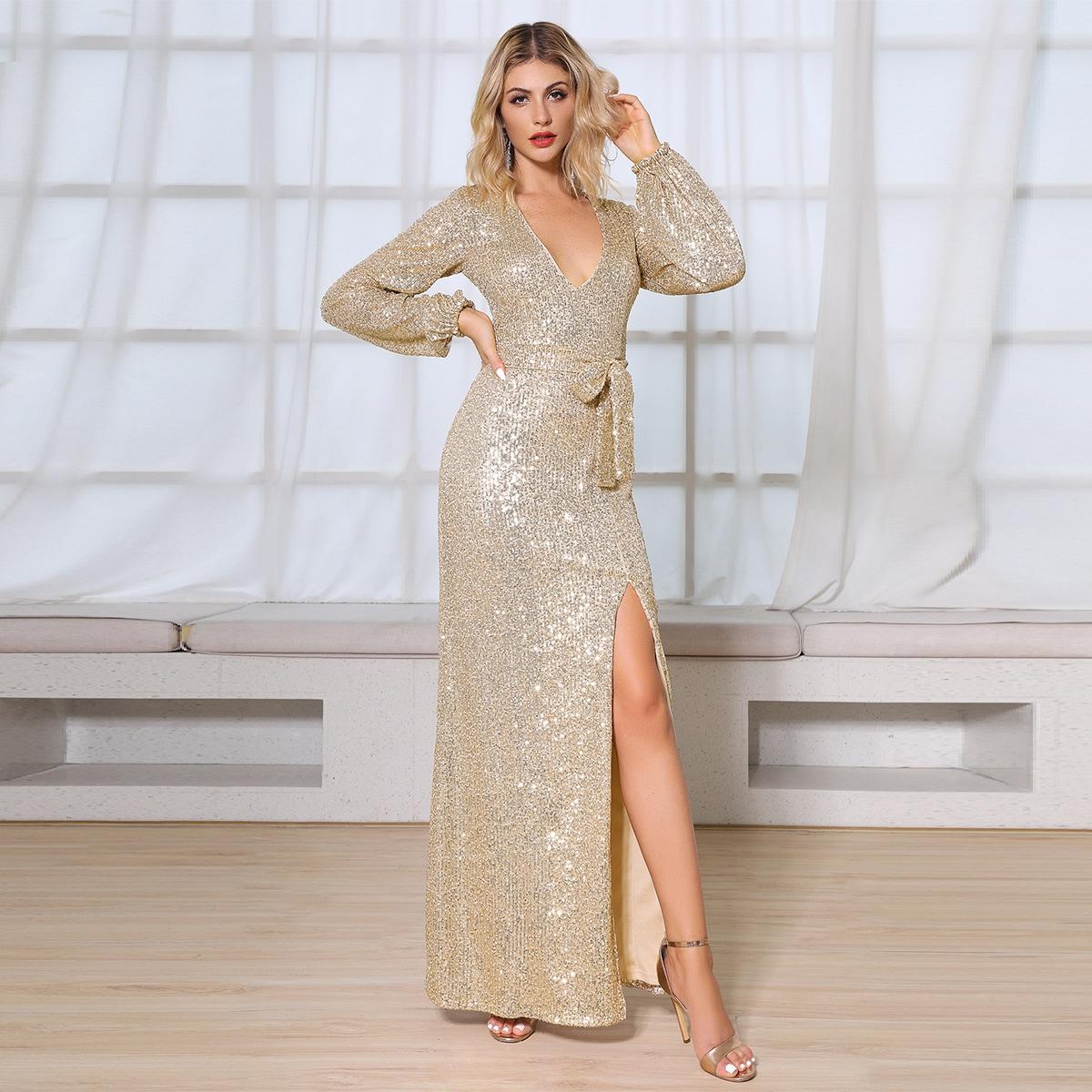 DKRX платье с глубоким вырезом, блестками и поясом Image