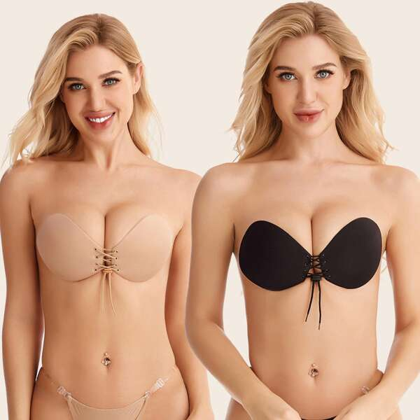 2pack Lace-up Front Self Adhesive Bra Set, Multicolor
