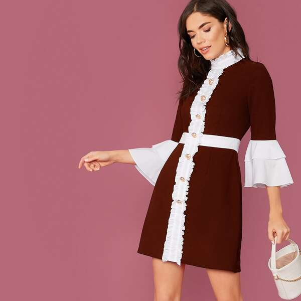 Flounce Sleeve Frill Detail Gold Button Front Dress, Burgundy
