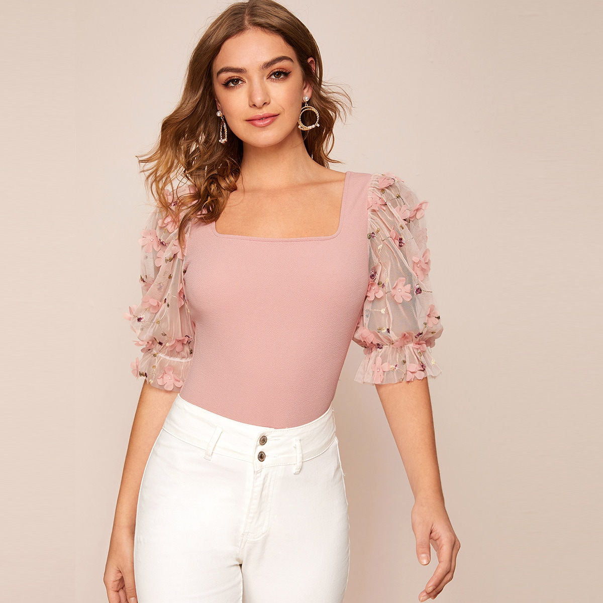 SHEIN / Square Neck Appliques Mesh Sleeve Top