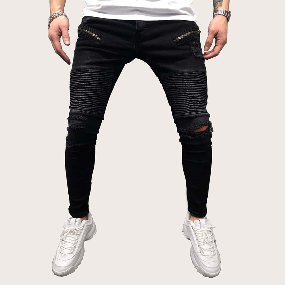 Zwart Casual Vlak Heren Jeans Rits