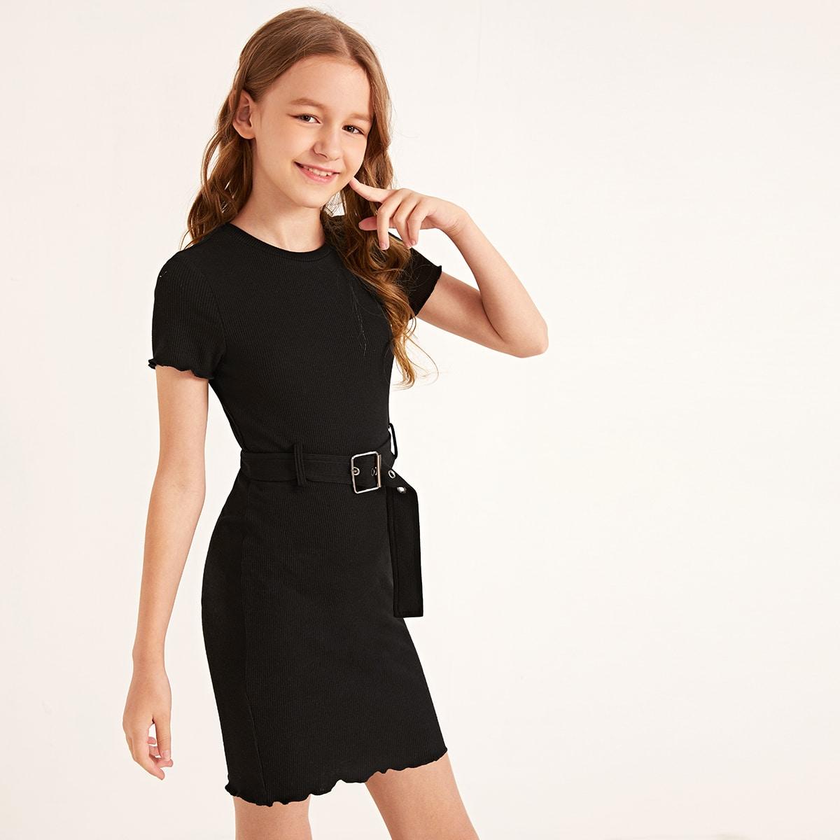 Вязаное платье с поясом и оригинальной отделкой для девочек от SHEIN