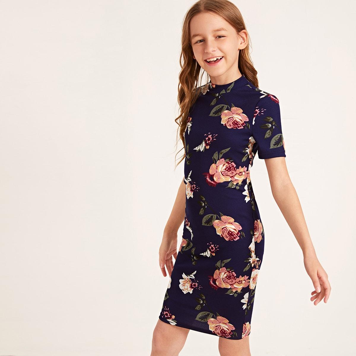Платье с цветочным принтом и воротником-стойкой для девочек от SHEIN