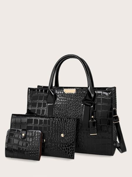 3pcs Croc Embossed Satchel Bag With Purse