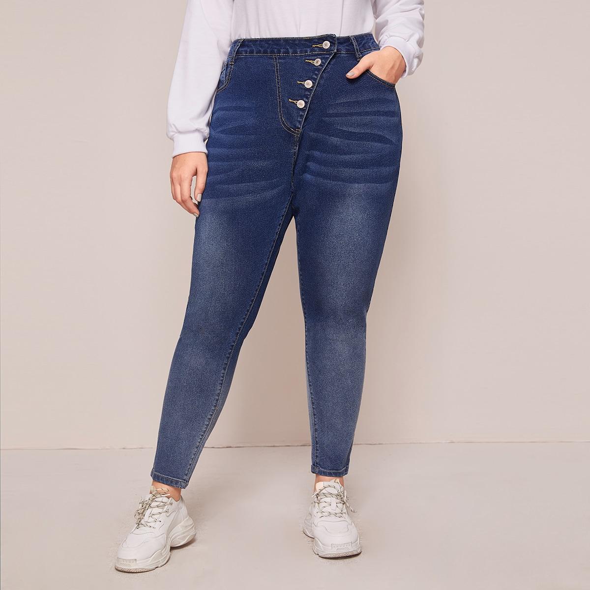 Blauw Casual Vlak Grote maten: jeans