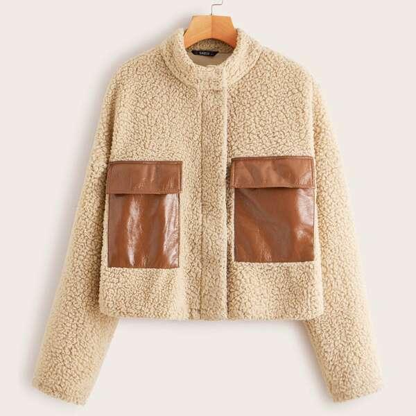 Faux Leather Flap Pocket Front Teddy Jacket, Khaki