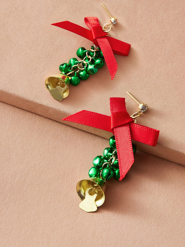 1pair Christmas Bow Knot Bell Drop Earrings, Multicolor