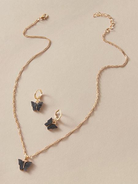 3pcs Butterfly Hoop Drop Earrings & Charm Necklace