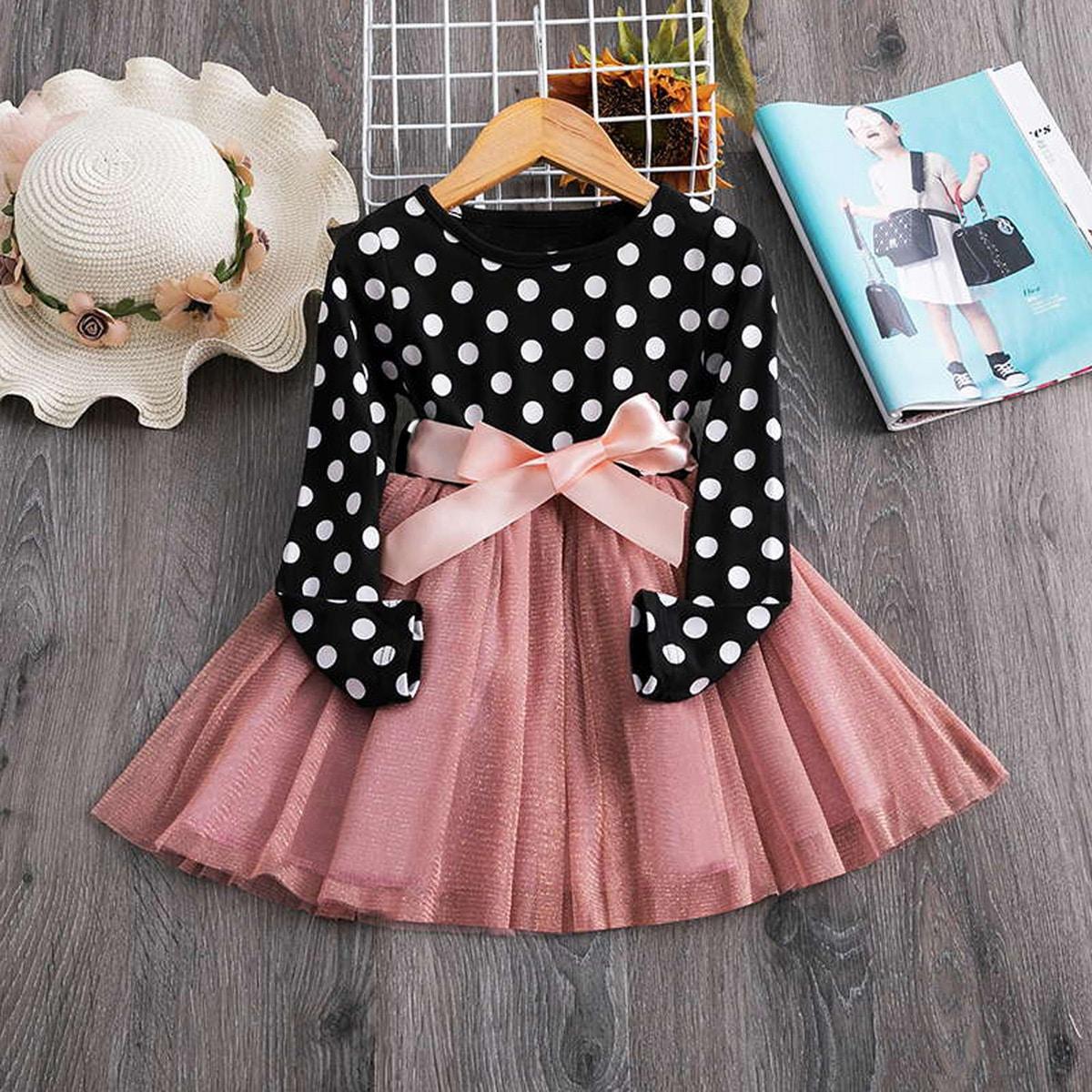 Платье в горошек с сетчатой вставкой для девочек от SHEIN